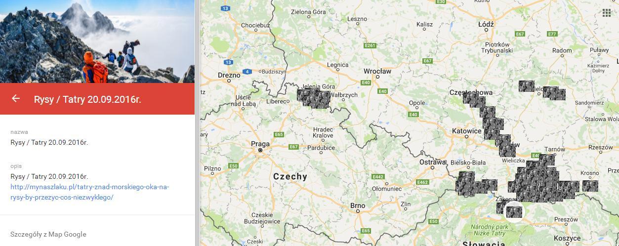 Podróże MyNaSzlaku w 2016 roku przedstawione na mapie