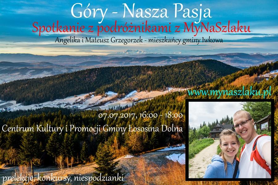 Nasza prelekcja o górach w Centrum Kultury i Promocji Gminy Łososina Dolna – 7 lipca o godzinie 16:00