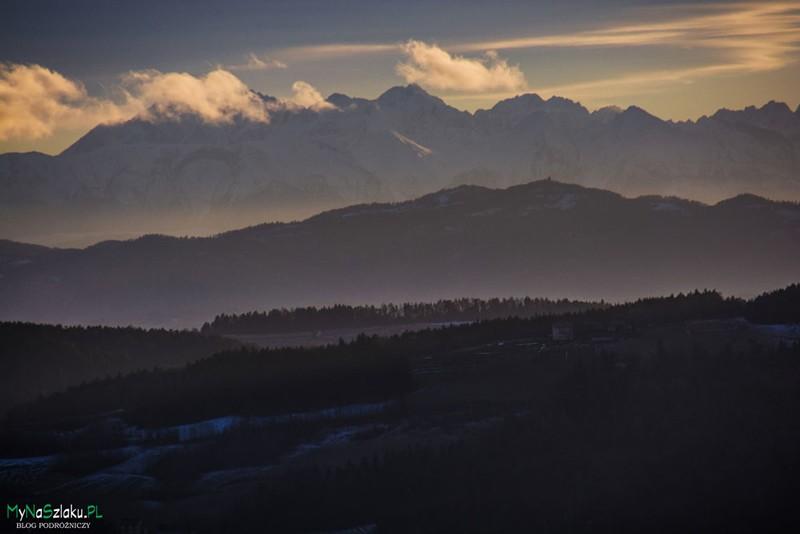 Beskid Wyspowy: Zachód słońca na Białowodzkiej Górze