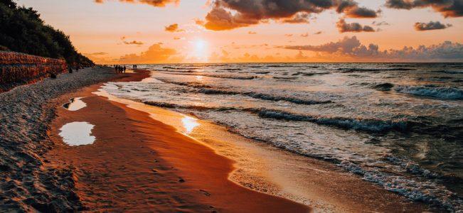 Jastrzębia Góra i zachód słońca nad Morzem Bałtyckim