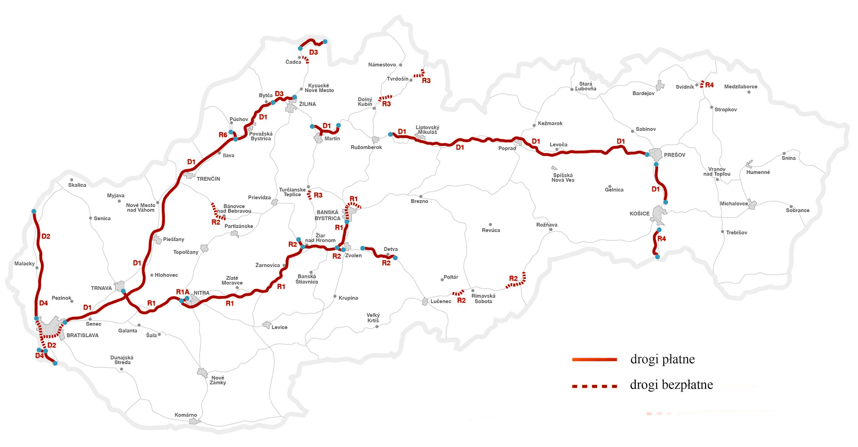 Mapa dróg płatnych na Słowacji