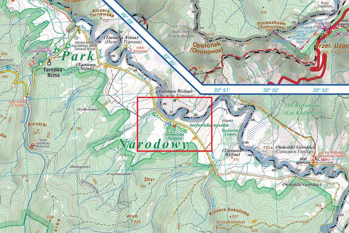 Torfowisko Tarnawa - mapa