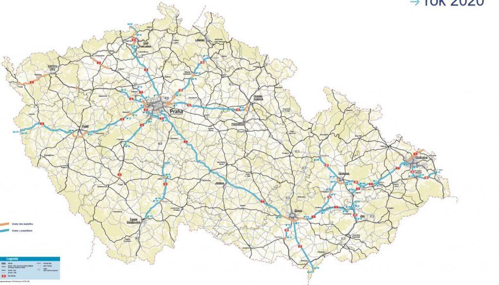 mapa drog platnych czechy
