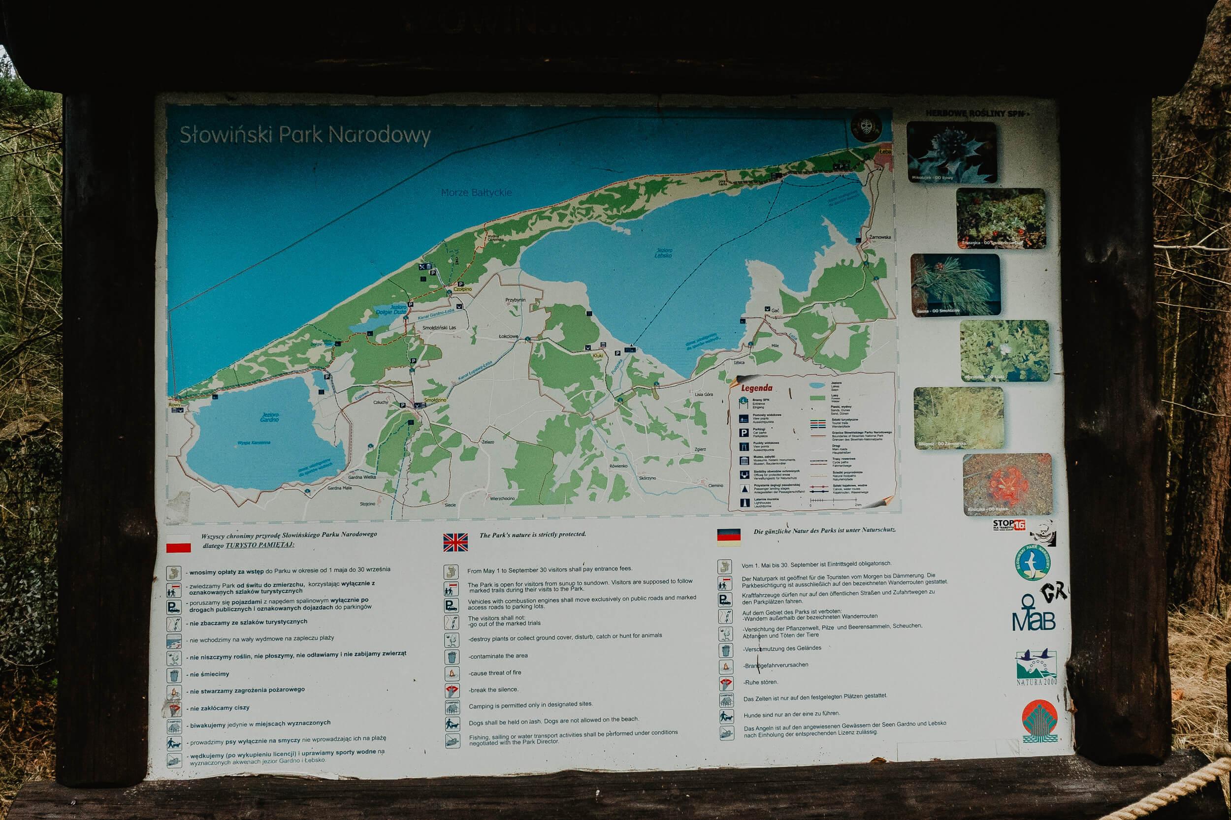 slowinski park narodowy mapa