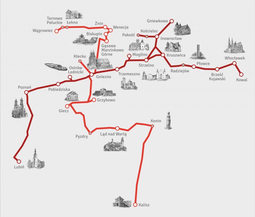 Szlak PIastowski - mapa