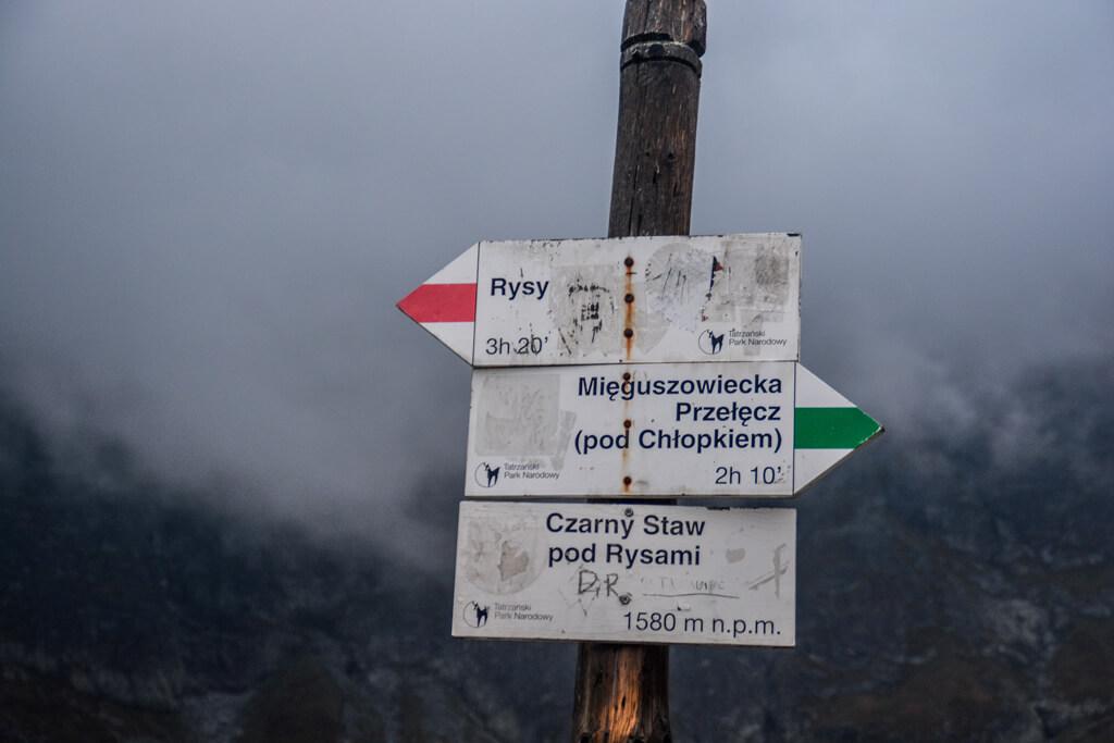 Szlakowskaz wskazujący drogę na Rysy
