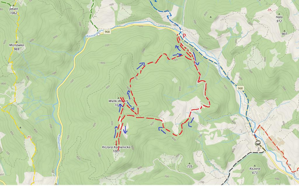 Mapa szlaku na Kiczorę Kamienicką