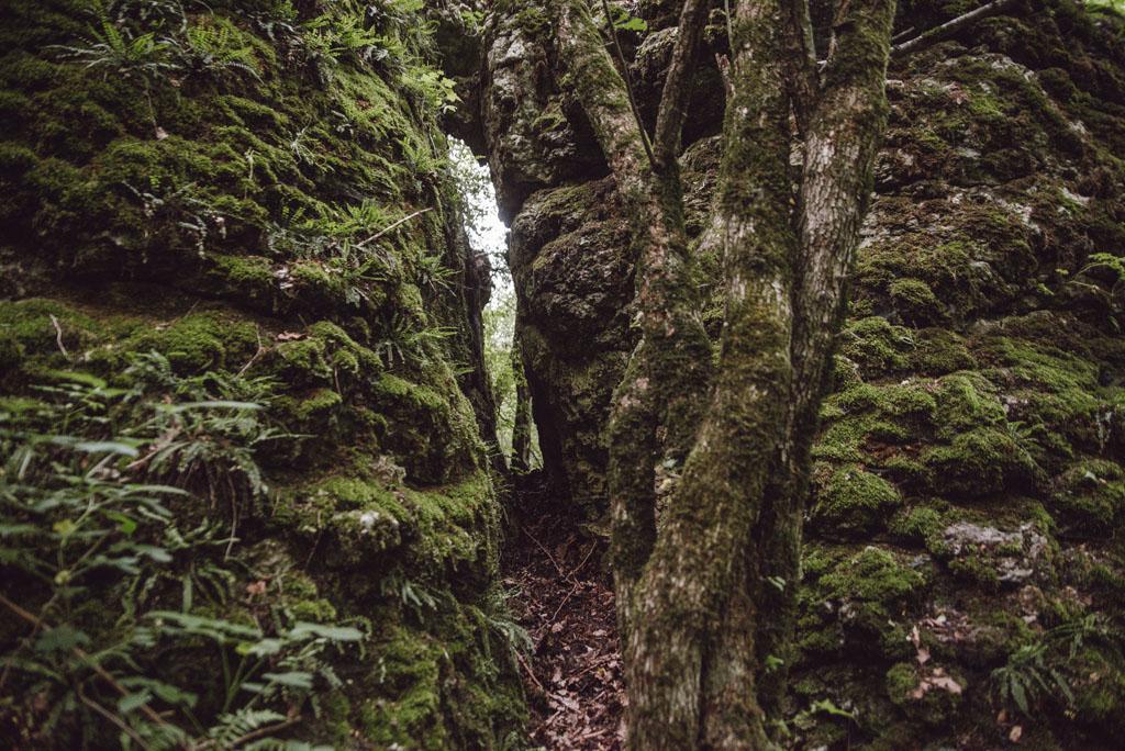 Szczelina przy Jaskini Ducha Gór
