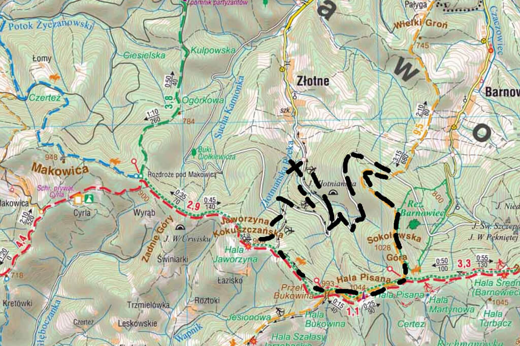 Mapa trasy na Jaworzynę Kokuszczańską