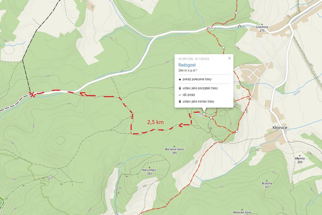 Radogost - mapa trasy