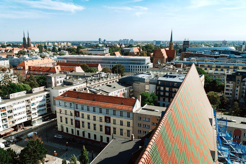 Widok na Wrocław z Mostu Pokutnic