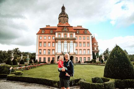 Zamek Książ z dzieckiem