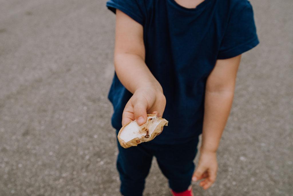 Dziecko trzyma suszone jabłko