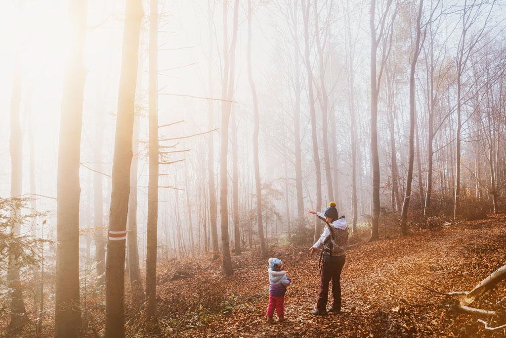 Kolorowy las mama z dzieckiem