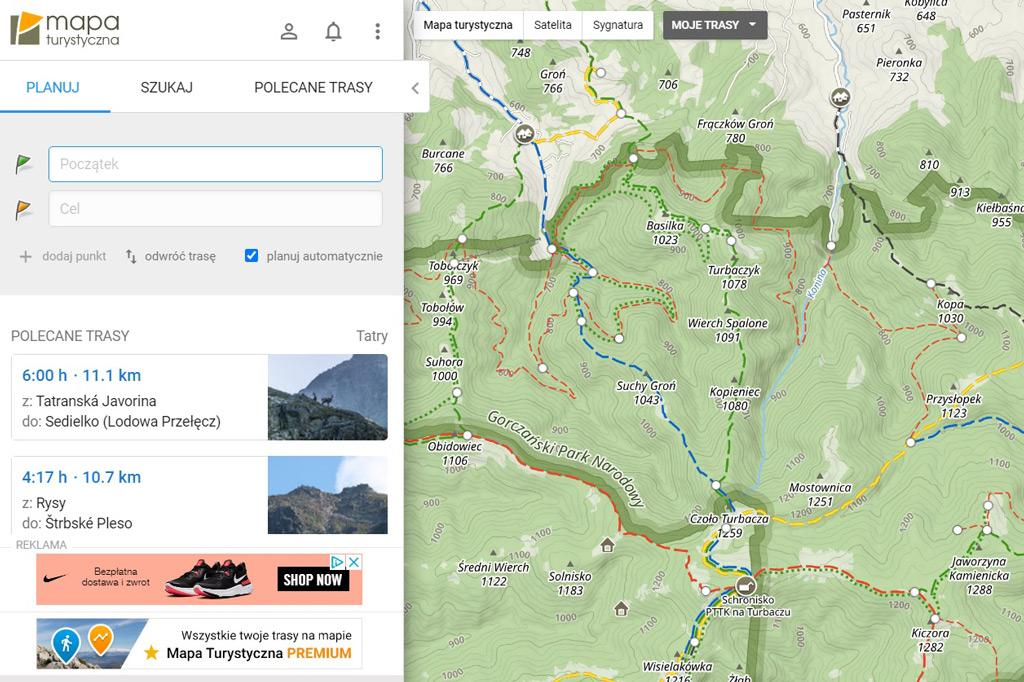 Mapa turystyczna - planowanie tras