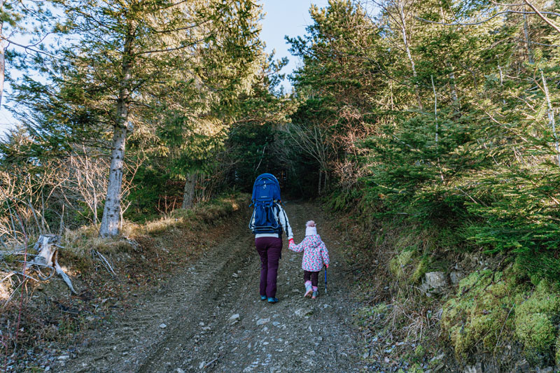 Mama z dzieckiem idzie pod górę w lesie