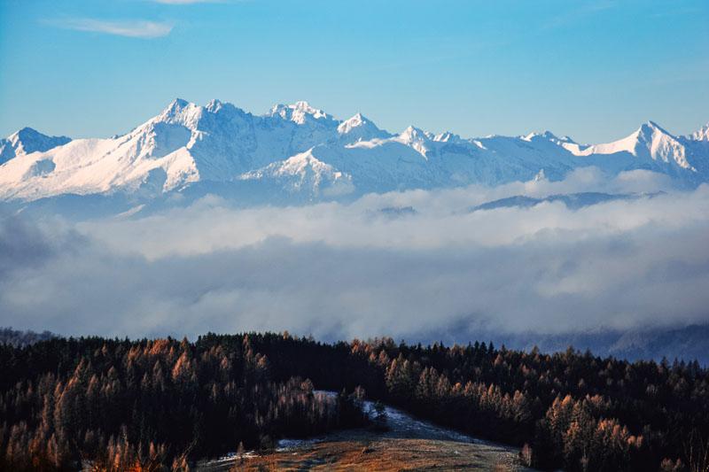 Widoki na Tatry spod Bacówki nad Wierchomlą