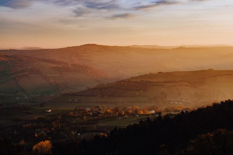 Wschód słońca na Dąbrowskiej Górze