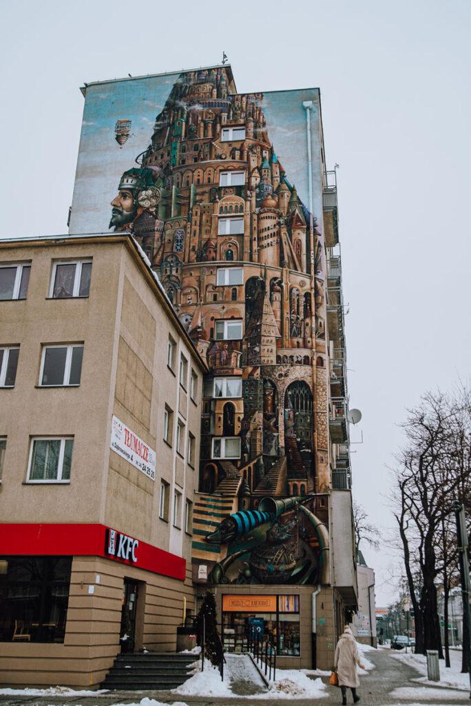 Mural wieża babel