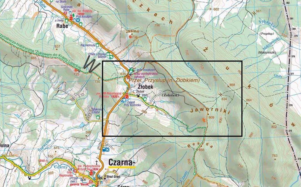 Jaworniki mapa