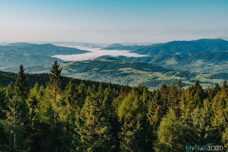 Góra Modyń 1029 m n.p.m. - szczyt i wieża widokowa
