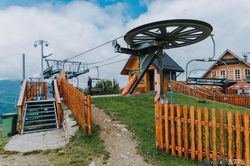 Szczyt i górna stacja narciarska Mosorny Groń w Zawoi